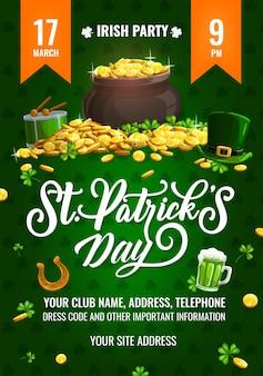 St. patricks day party flyer, cartoon poster met kabouter pot