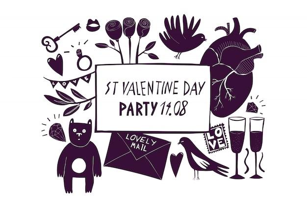 St valentine day sjabloon voor spandoek.