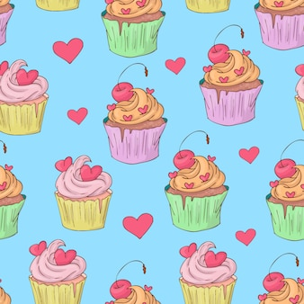 St. valentine's day naadloze patroon met cupcakes.