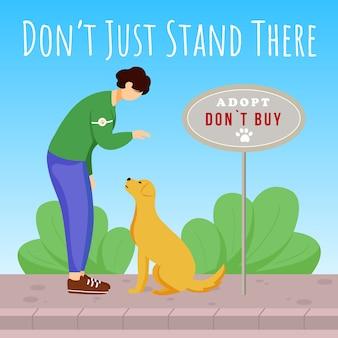 Sta daar niet gewoon op sociale media. dierenasiel reclame ontwerpsjabloon voor webbanner. booster voor sociale media, inhoudlay-out Premium Vector