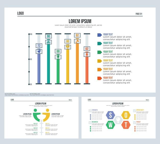 Staaf, vergelijking, swot, presentatiedia en powerpoint-sjabloon instellen