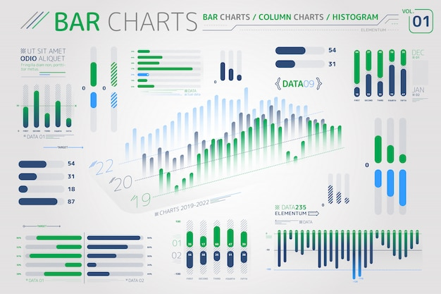 Staafdiagrammen, kolomdiagrammen en histogrammen infographic elementen