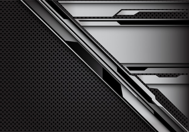 Staal cyber patroon op donker grijze cirkel mesh achtergrond.