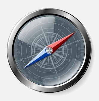 Staal gedetailleerd kompas over grijze achtergrond.