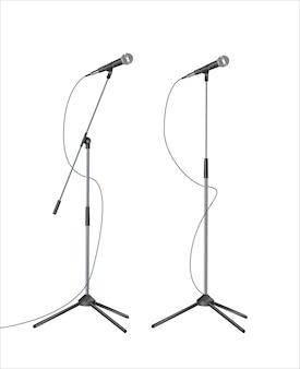 Staan met moderne microfoon op witte achtergrond Premium Vector