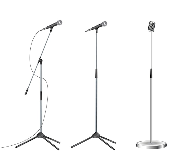 Staan met moderne microfoon op witte achtergrond