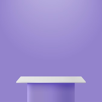 Staan podium vectorillustratie op paarse achtergrond, podium podium voor presentatie of aankondiging