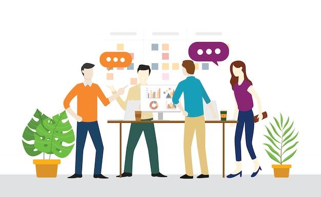 Staand of staand vergaderend dagelijks plan voor teamwork