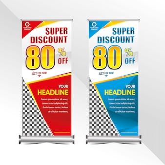 Staande banner sjabloon super speciale korting aanbieding verkoop promotie