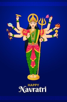 Staande godin durga shubh navratri festival happy dussehra en durga puja
