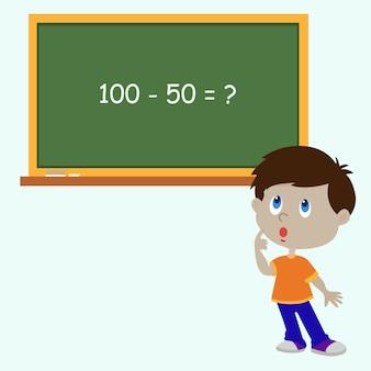 Staande jongen in de buurt van blackboard