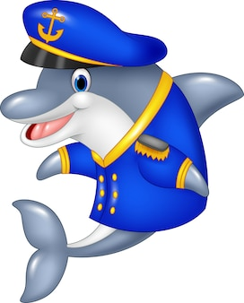 Staande kleine cartoon dolfijn met behulp van uniforme kapitein