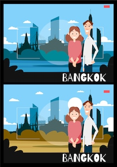 Staande mensen worden gefotografeerd tegen de achtergrond van bangkok. reisillustratie in de stijl van fotografie.