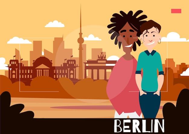 Staande mensen worden gefotografeerd tegen de achtergrond van berlijn. reisillustratie in de stijl van fotografie.