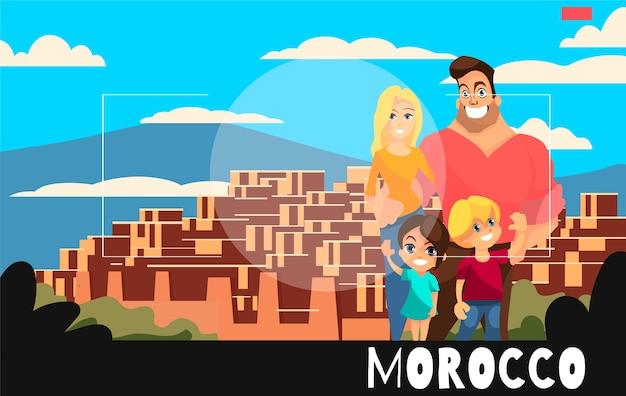 Staande mensen worden gefotografeerd tegen de achtergrond van marokko. reisillustratie in de stijl van fotografie. gezin met kinderen in marokko.