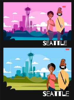 Staande mensen worden gefotografeerd tegen de achtergrond van seattle. illustratie in de stijl van fotografie. afrikaans-amerikaans paar op de achtergrond van de stad seattle.