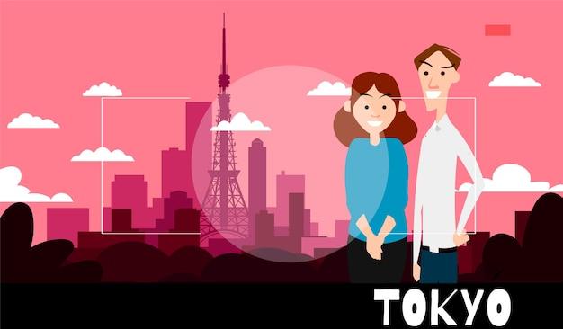 Staande mensen worden gefotografeerd tegen de achtergrond van tokio. reisillustratie in de stijl van fotografie.