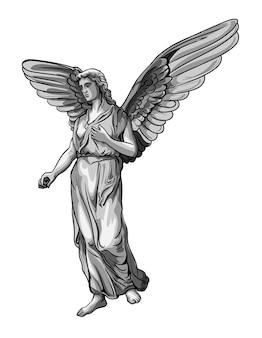 Staande nieuwsgierige biddende engel sculptuur met vleugels. zwart-wit afbeelding van het standbeeld van een engel. geïsoleerd.