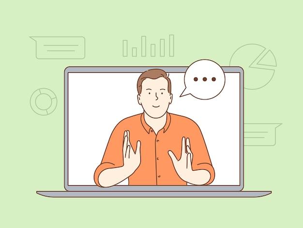 Staande schermweergave van zakenman tijdens videogesprek