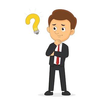 Staande twijfelende zakenman of kantoorman