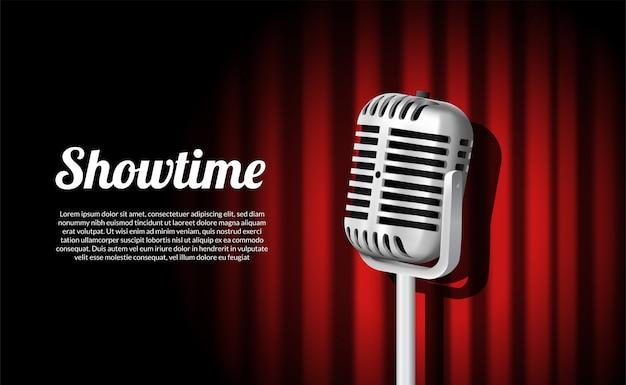 Staande vintage microfoon show