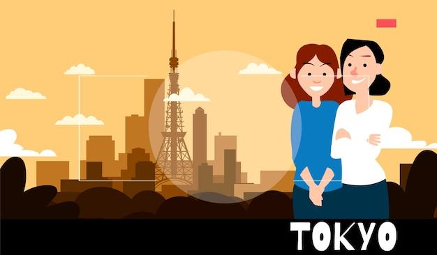 Staande vriendinnen worden gefotografeerd tegen de achtergrond van tokio. reisillustratie in de stijl van fotografie.
