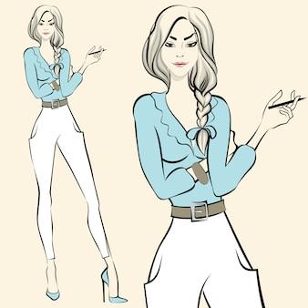 Staande vrouw emoties van de mode