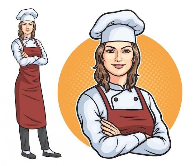 Staande vrouwelijke chef-kok