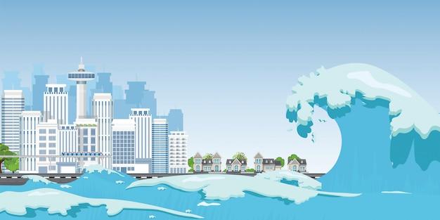 Stad aan kust vernietigd door golven tsunami.