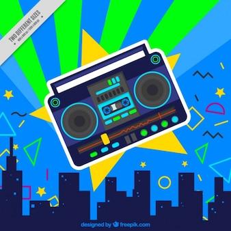 Stad achtergrond en radio-cassette