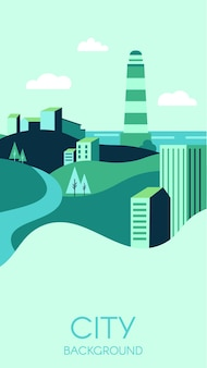 Stad achtergrond met moderne hoge gebouwen en groene natuur.