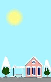 Stad ansichtkaarten winterlandschap bushalte en huis verticale sjabloon voor groet merry christmas