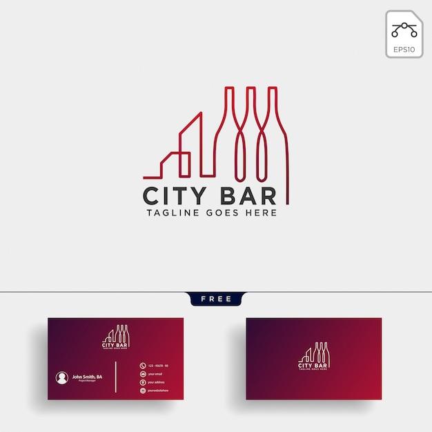 Stad bar, drinken club creatieve logo sjabloon vectorillustratie