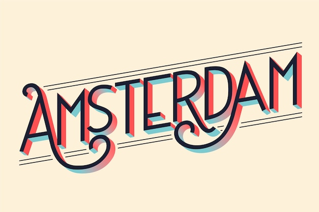 Stad belettering amsterdam concept