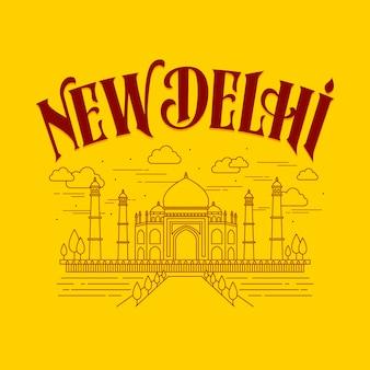 Stad belettering met nieuwe delhi concept