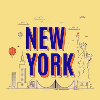 Stad belettering new york met de belangrijkste attracties