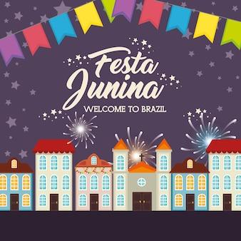Stad bij nacht met vuurwerk en feestelijke banner vectorillustratie