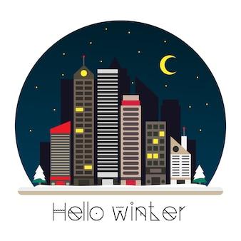 Stad bij nacht vectorillustratie in vlakke stijl ontwerp
