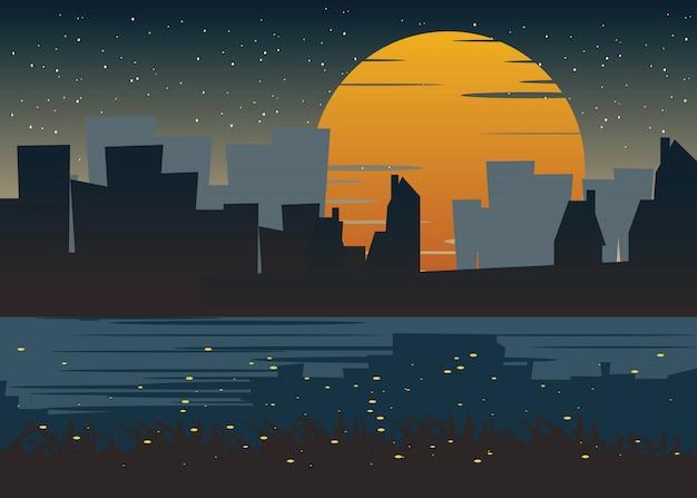 Stad bij nacht vectorillustratie