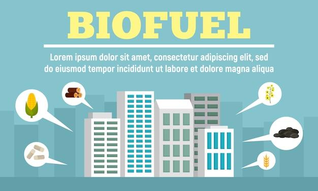 Stad biobrandstof banner, vlakke stijl