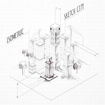 Stad bouw schets isometrisch