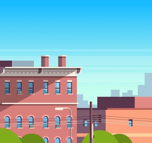 Stad bouwen huizen bekijken stadsgezicht achtergrond onroerend goed schattig stad concept plat