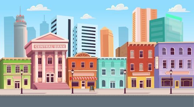 Stad bouwen huizen met winkels café hotel bank. vectorillustratie in vlakke stijl achtergrond.