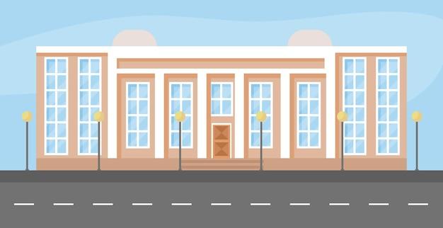 Stad bouwen platte cartoon vectorillustratie vooraanzicht