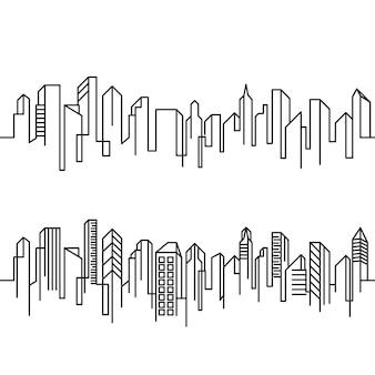 Stad building line art vector pictogram ontwerp illustratie template