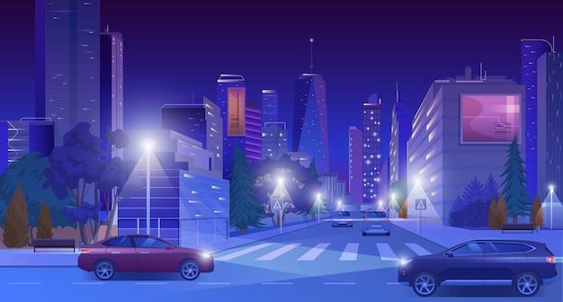 Stad centrum straat bij neon nacht met auto's, nachtleven landschap