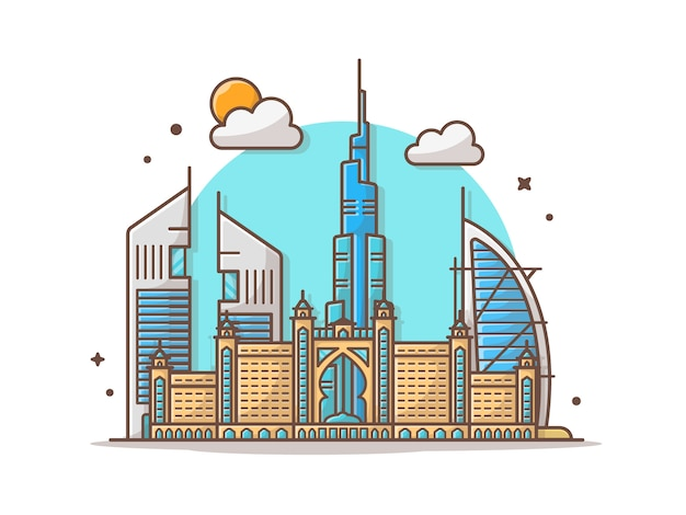 Stad dubai skyline vector illustraties illustratie