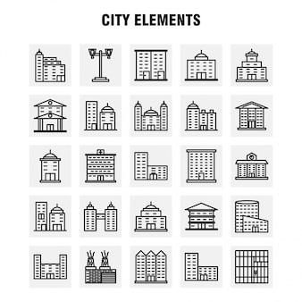 Stad elementen lijn icons set