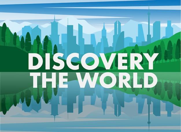 Stad en meer met tekst ontdek de wereld Premium Vector