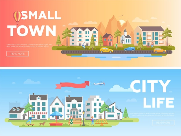Stad en stad - set van moderne platte vectorillustraties met plaats voor tekst. twee varianten van stadslandschappen met gebouwen, speeltuin, mensen, bergen, heuvels, kerk, banken, lantaarns, bomen